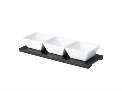 Black Wood Dip Tray Set 27 x 10cm W/ 3 Dishes