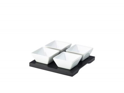 Black Wood Dip Tray Set 15 x 15cm W/ 4 Dishes