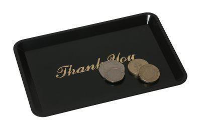 """Tip Tray Thank You 4.1/2""""X6.1/2"""" Black"""