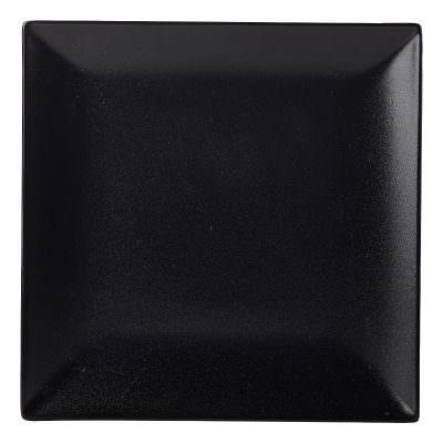 Luna Square Coupe Plate 26cm Black Stoneware