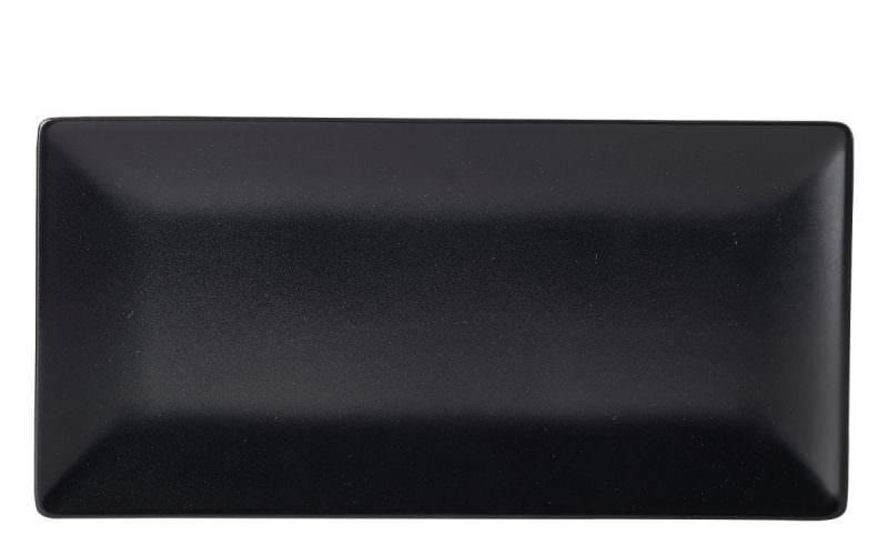 Luna Rect.Coupe Plate 25X15cm Black Stoneware