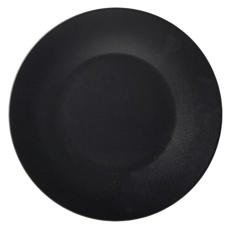 Luna Wide Rim Plate 21cm Dia Black Stoneware