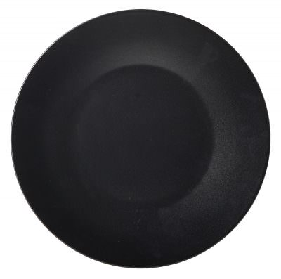 Luna Wide Rim Plate 25cm Dia Black Stoneware