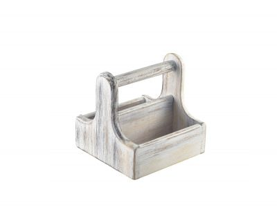Small White Wooden Table Caddy