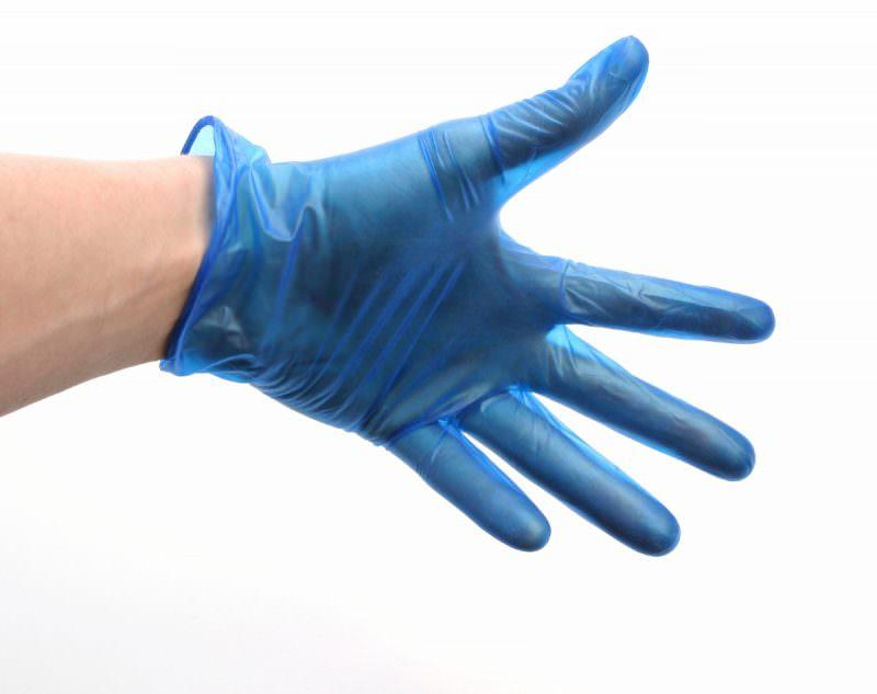 Blue Lightly Powdered Vinyl Gloves Lrg (100)