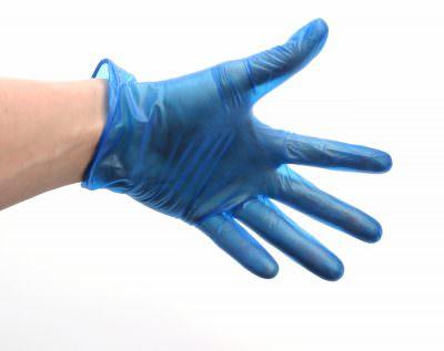 Blue Lightly Powdered Vinyl Gloves Med (100)