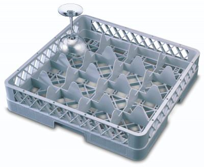 Genware 16 Comp Glass Rack With 1 Extender