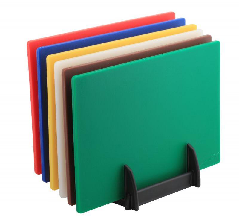 6 Colour (1 of Each) HD Chopping Board + Rack