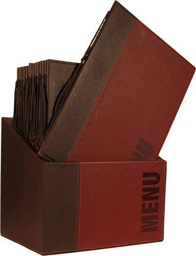 Contemporary Menu Box + 20 A4 Wine Red Menus