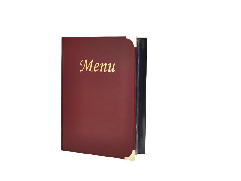 A4 Menu Holder Wine Red 8 Pages