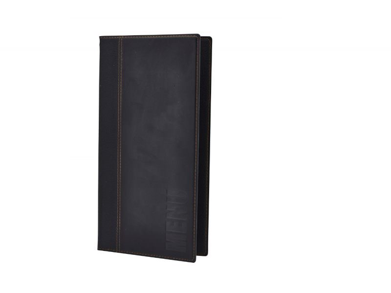 Contemporary Long Menu Holder Black 4 Pages