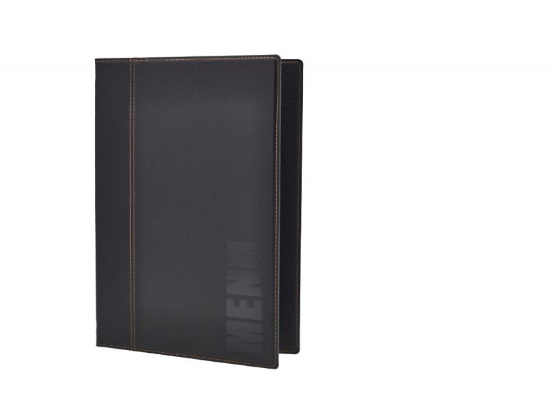 Contemporary A4 Menu Holder Black 4 Pages