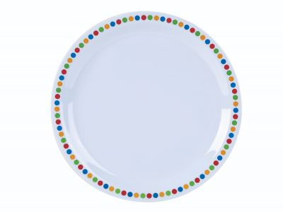 "Genware Melamine 9"" Plate - Coloured Circles"