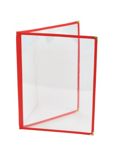 Red American Style A4 Menu Holder - 2 Page