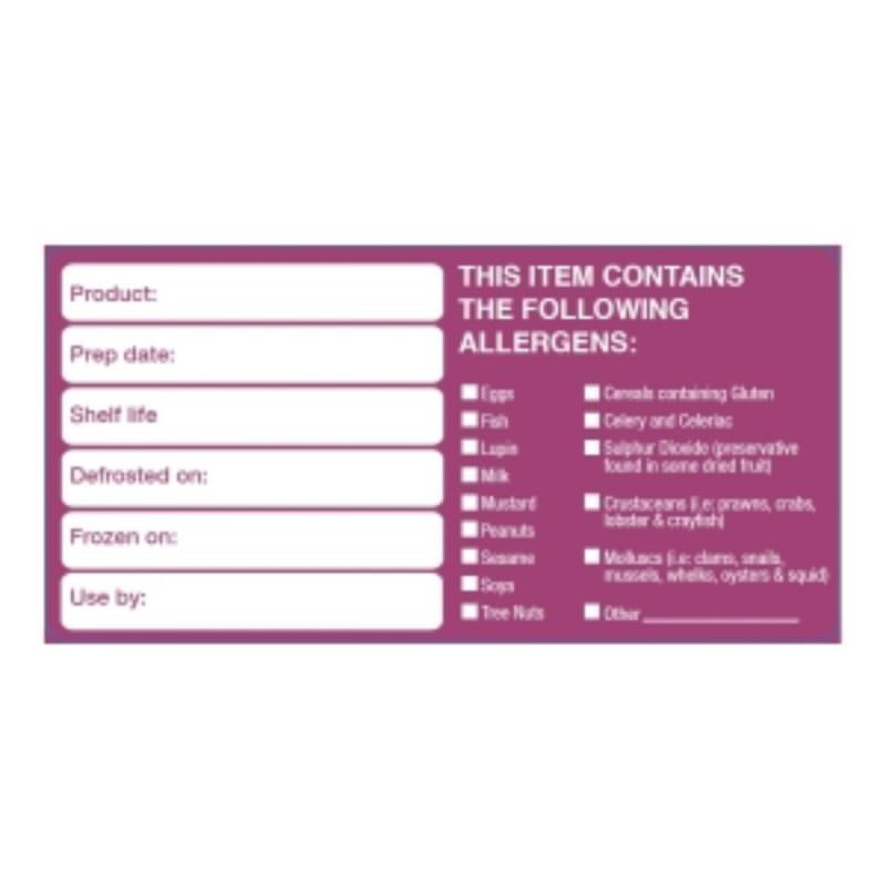 50x100mm Removable Product/Allergen Label (500)