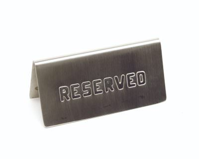 """S/St. Table Sign""""Reserved"""" 15 X 5cm"""