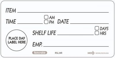 50 X 100mm Removable Shelf Life Label (500)