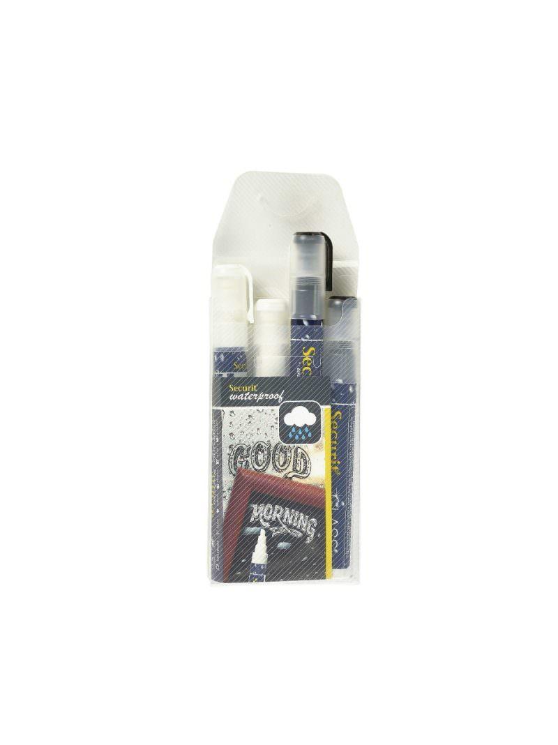 Waterproof Chalk Markers 2 Colour Pack (W, BK) Medium