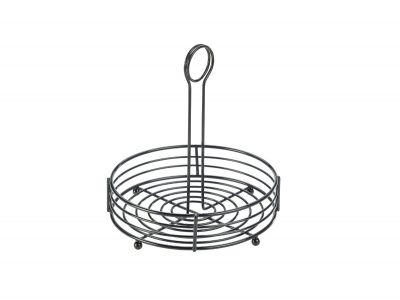 "Black Wire Table Caddy 8"" Dia X 8.5"" (H)"
