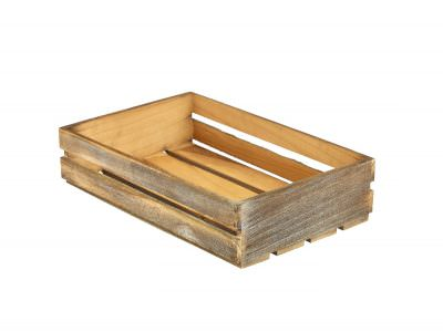Wooden Crate Dark Rustic Finish 35 x 23 x 8cm