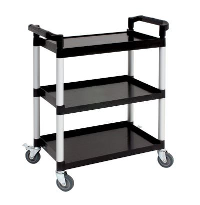 Genware Small 3 Tier PP Trolley Black Shelves