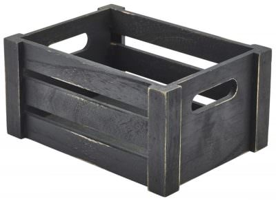 Wooden Crate Black Finish 22.8 x 16.5 x 11cm