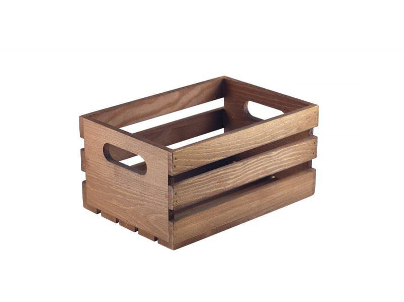 Wooden Crate Dark Rustic Finish 21.5x15x10.8cm