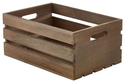 Wooden Crate Dark Rustic Finish 34 x 23 x 15cm