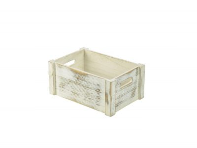 Wooden Crate White Wash Finish 34 x 23 x 15cm
