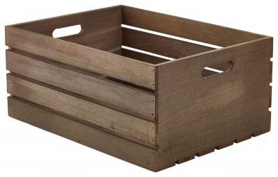 Wooden Crate Dark Rustic Finish 41 x 30 x 18cm