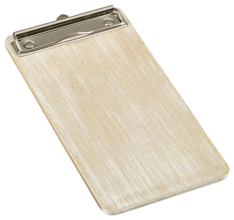 White Wash Wooden Menu Clipboard Wine List 13x24.5x0.6cm