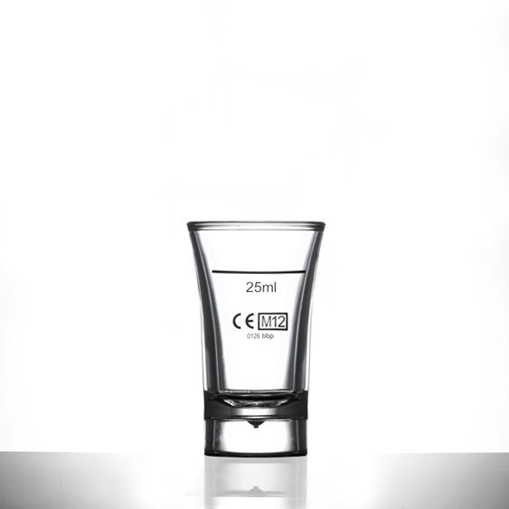 Shot Glass - Econ Clear Polystyrene Plastic 40ml, CE Marked, Lined @ 25ml - 100 Pack