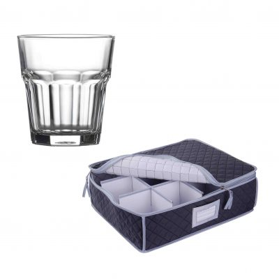Quilted Storage Case and Aras Tumbler Glasses - 12 Pack