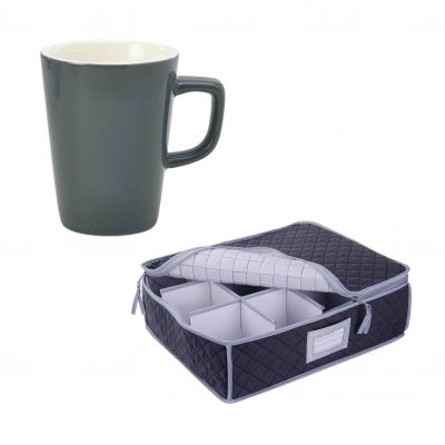 Quilted Storage Case and Grey Latte Mug - 12 Pack