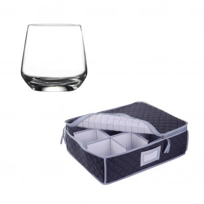 Glassware Quilted Storage Case and 12 Pack Lal Tumbler Glasses