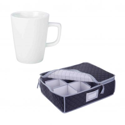 Quilted Storage Case and White Latte Mug - 12 Pack
