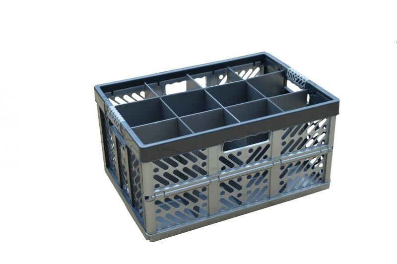 2. Folding Crate - Glassware Box, 12 cells