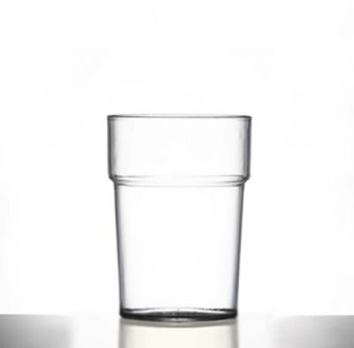 Econ Polystyrene Plastic Rigid Half Pint Tumbler Glass, Clear, 284ml / 28.4cl / 10oz, CE Marked - 100 Pack