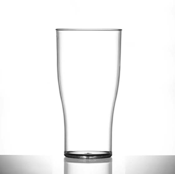 Econ Clear Polystyrene Plastic Tulip Pint Glass, 20oz, CE Marked - 48 Pack