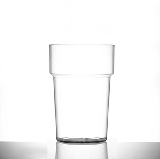 Econ Polystyrene Plastic Rigid Pint Tumbler Glasses, Clear, 20oz, CE Marked - 100 Pack