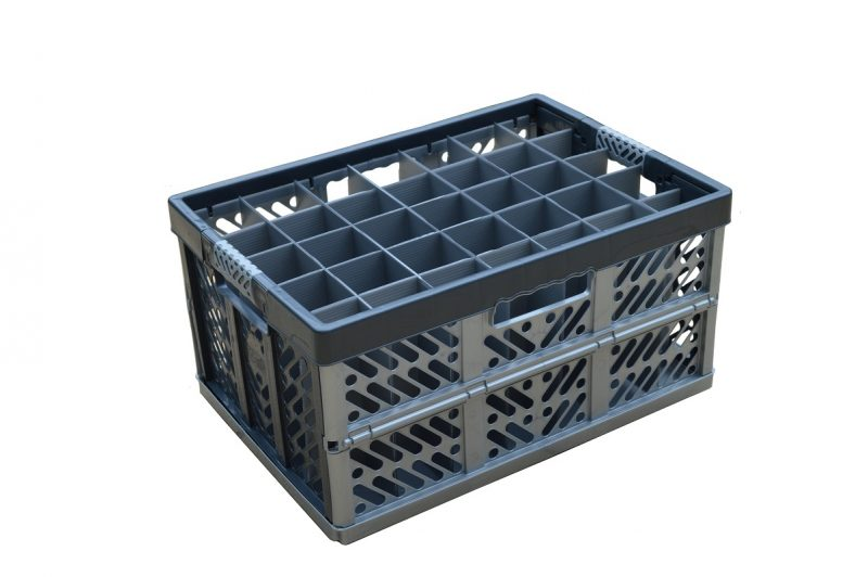 5. Folding Crate Glassware Box, 35 cells