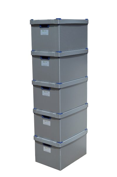 6. Large Stacking Storage Boxes, Pack of 5, Height 245mm