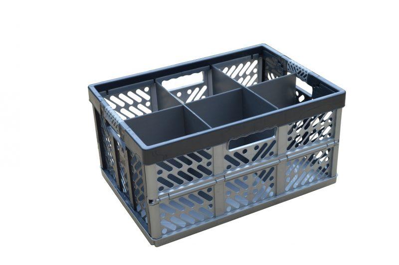 1. Folding Crate - Glassware Box, 6 cells