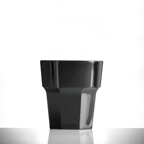 Elite Remedy Polycarbonate 9oz Black Rocks Glasses - 36 Pack