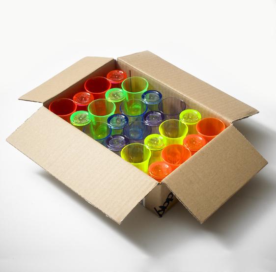 Shot Glasses - Econ Polystyrene, Multi Colour Pack, 25ml - 24 Pack