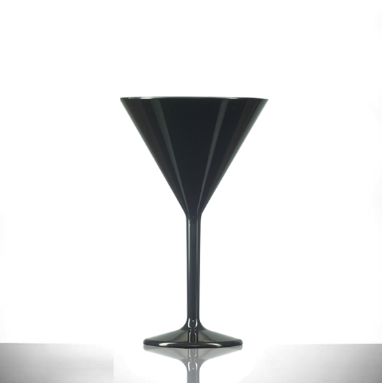 Premium Polycarbonate Plastic Black Martini Glass 7oz - 12 Pack