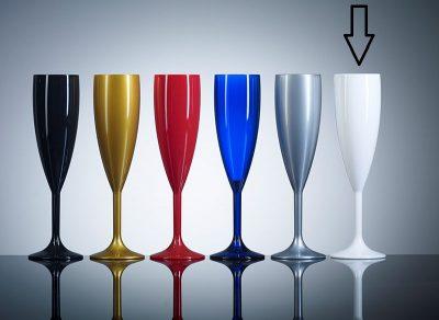 Elite Premium White Polycarbonate Champagne Flutes - 12 Pack