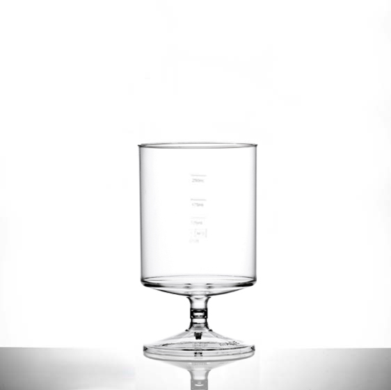 Econ Clear Polystyrene Plastic Stacking Wine Glass 312ml/11oz, CE Marked at 125ml, 175ml & 250ml - 70 Pack