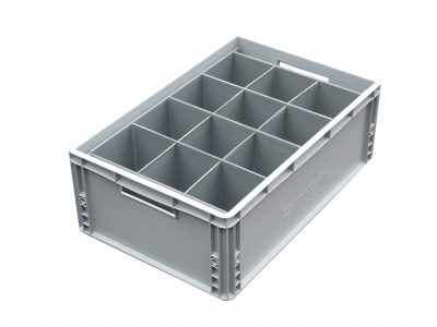 2. Glassware Storage Euro Crate = 12 cells | Glass max height = 250mm | Glass width range = 98mm to 111mm