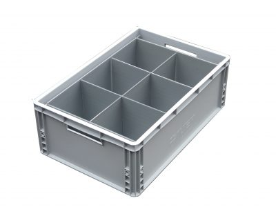 1. Glassware Euro Crate = 6 cells | Glass max height = 250mm | Glass width range = 112mm to 163mm
